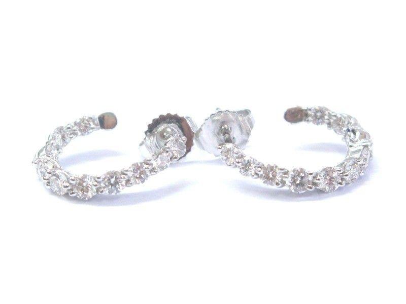 Tiffany Co Platinum Inside Out Diamond Hoop Earrings