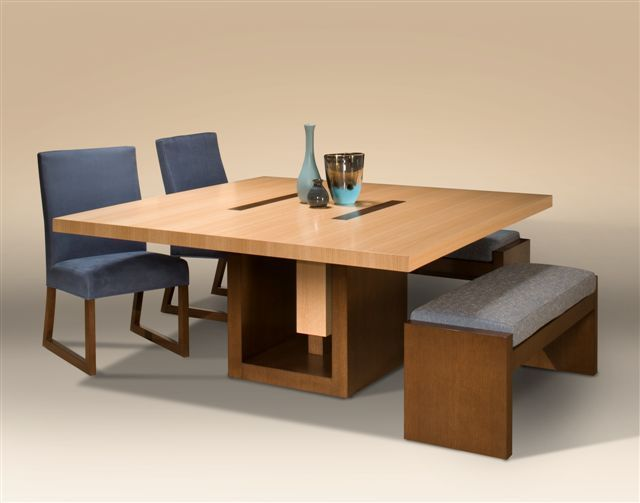 Dining Room Modern Minimalist Square Dining Table With Benches