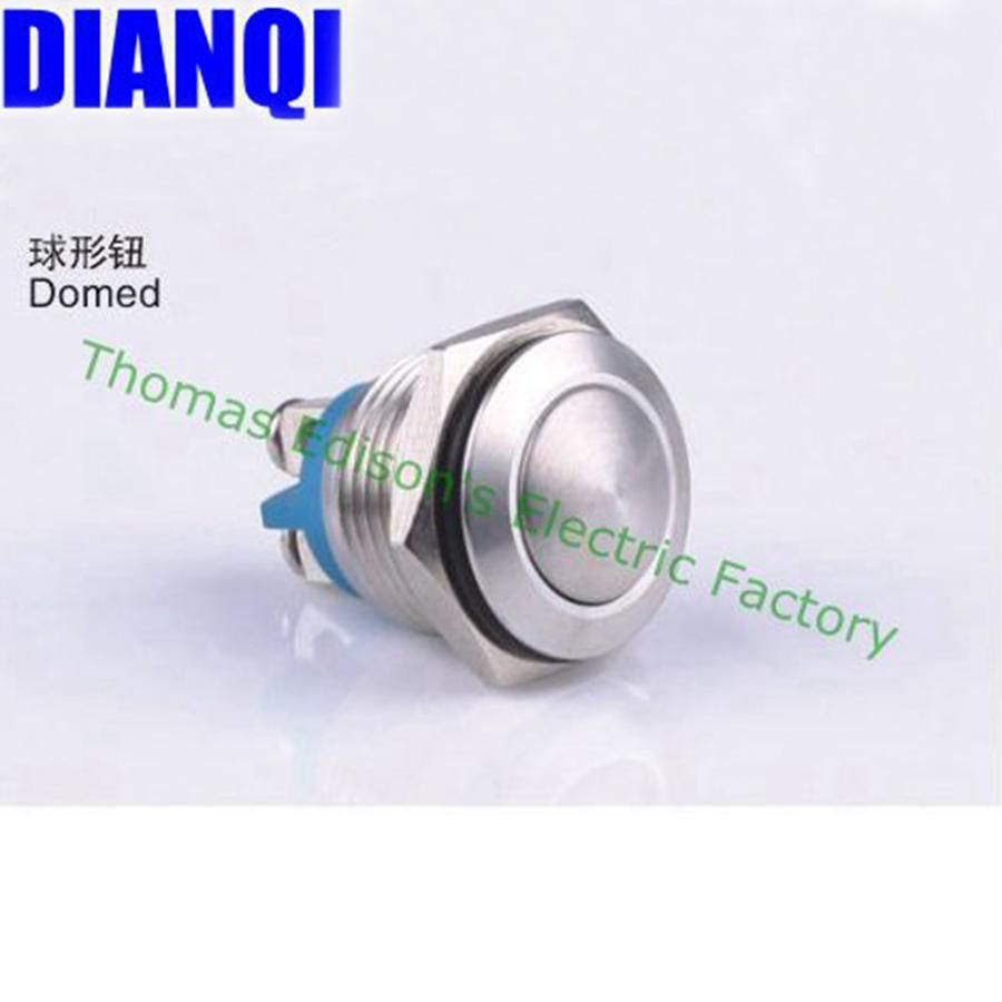 Visit To Buy 16mm Metal Push Button Waterproof Nickel Plated Brass 5pcs Lot Switch 3a 250v Off On 1 Circuit Non Locking Car