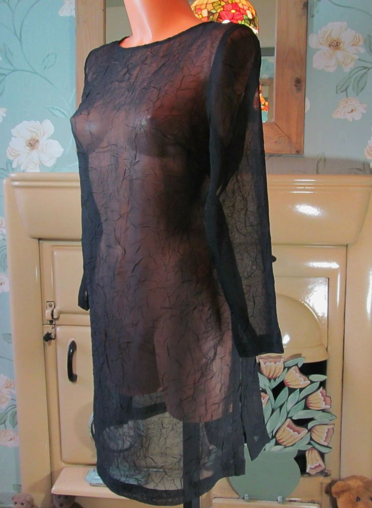 Vtg black soft sheer crinkle steampunk long tunic blouse dress top M/L R11953