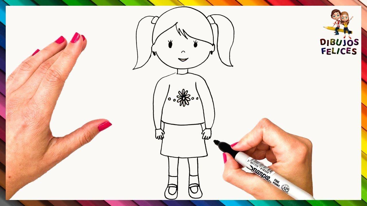 Como Dibujar Una Nina Paso A Paso Dibujo Facil De Nina Como Dibujar Ninos Dibujos Para Ninos Dibujo Paso A Paso