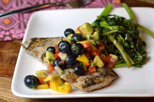 grilled mahi with blueberrymango salsado this with the