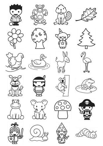 Kleurplaat icoontjes kleuters | Colorear | Pinterest | Dibujar ...