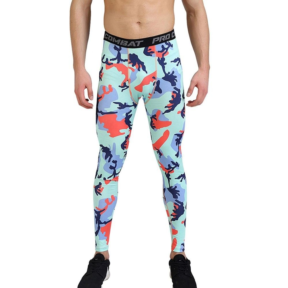 Xtextile Mens Snow Camouflage Sports Compression Tight Cool Dry Sports Pants Base Layer Running Leggings Yoga Rash Guard