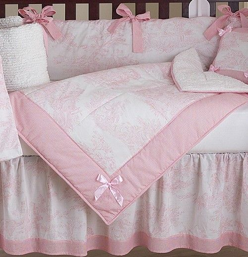Pink French Toile And Gingham Baby, Pink Gingham Baby Bedding