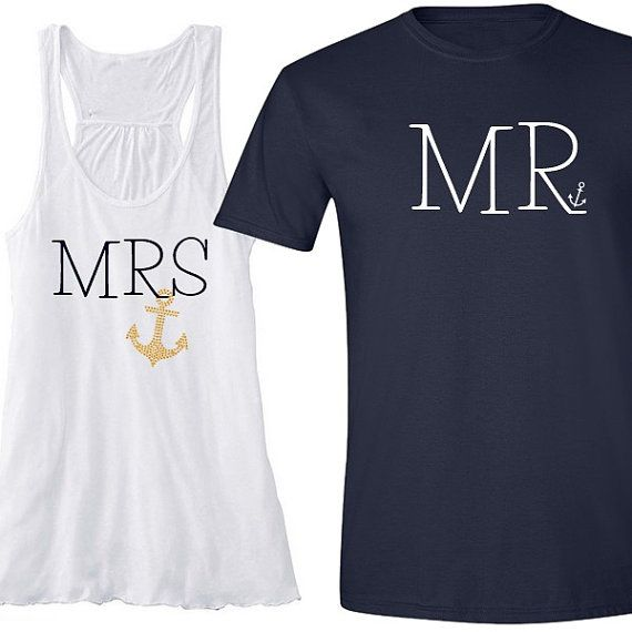 MRS and MR Nautical Anchor Shirt Set Rhinestone by BeforeTheIDos