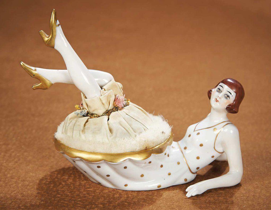 "German Porcelain Powder Dish ""Flapper Lady Kicking up Her Heels"" 600/900"