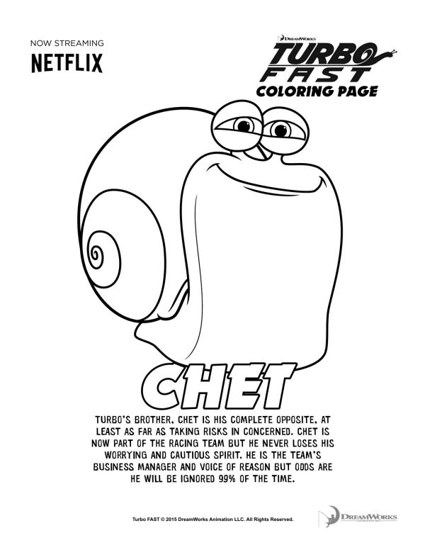Turbo Fast Chet Coloring Page Coloring Pages Printable Coloring