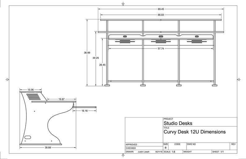 Recording Studio Desk 12ru Workstation Premium Baltic Birch Etsy In 2020 Recording Studio Desk Studio Desk Workstation
