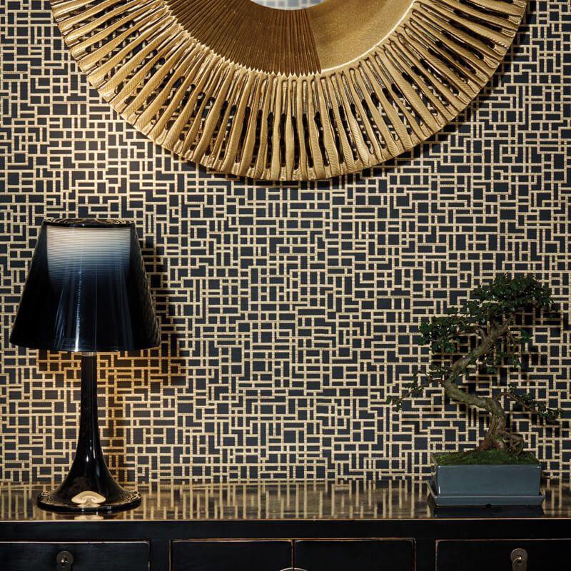 Arthouse Satoni Geo Black Gold Wallpaper Http Godecorating Co Uk Arthouse Satoni Geo Black Gold Wallpaper Tapete Gold Haus Kunst