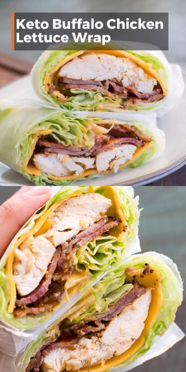 This easy Keto Buffalo Chicken Lettuce Wrap is loaded with sharp cheddar cheese, crispy bacon, grilled chicken and a heavy dose of tangy buffalo sauce...