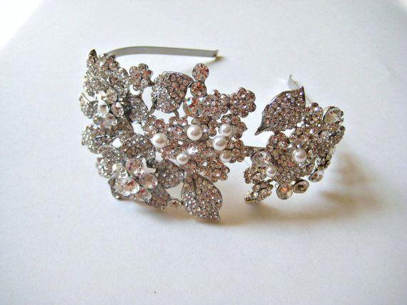 Bridal vintage swarovski crystal & pearl jewel wedding by IngenueB