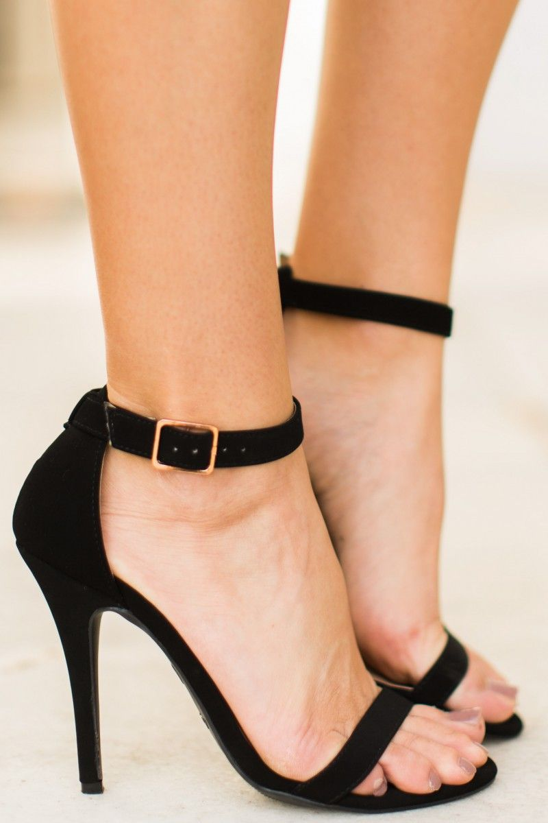 a14966988996 Davina Black Ankle Strap High Heels