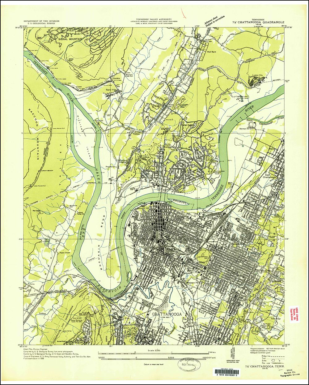 1936 Chattanooga, Tennessee 7.5 minute series quadrangle (1:24,000 on
