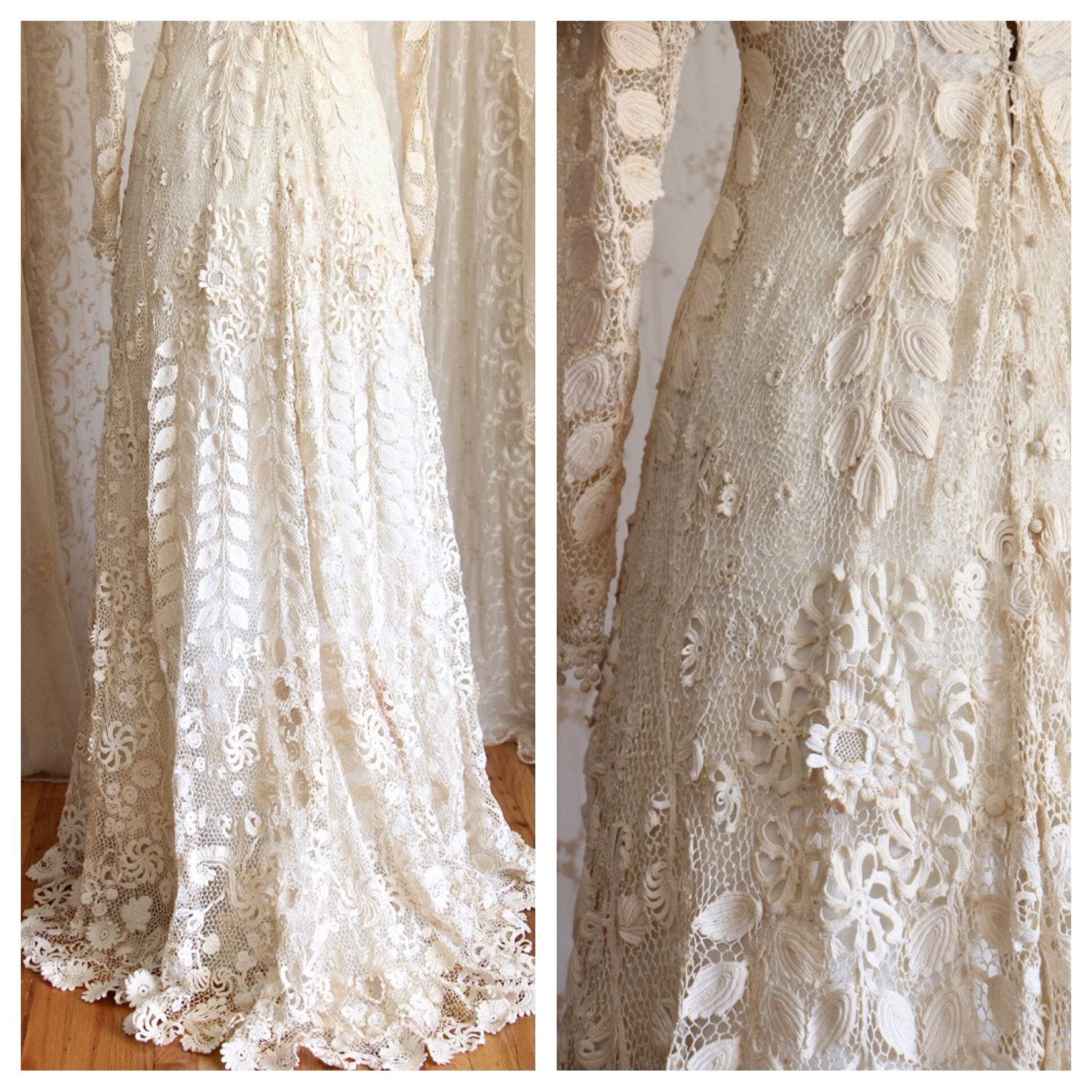 VICTORIAN IRISH CROCHET LACE WEDDING GOWN Exquisite RARE