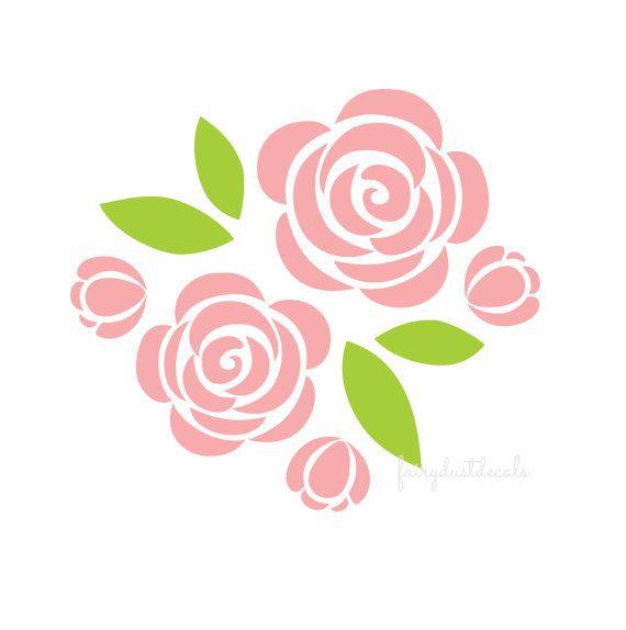 Rose wall decals, nursery room decals, flower wall sticker ...