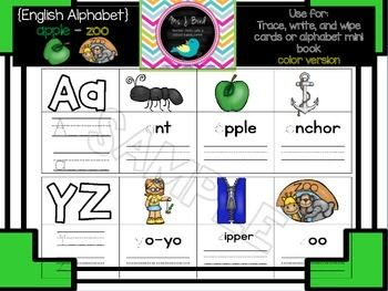FREE Alphabet A-Z book {English}So many ways to use this Freebie:3* adorable clip art images per letter *except W, X, Y, Z Tracing lettersWrite and wipeAlphabet mini bookMatching CentersPocket chartsAnd more!If you have any questions or issues with this download please contact me directly FOLLOW ME FOR FREEBIES!