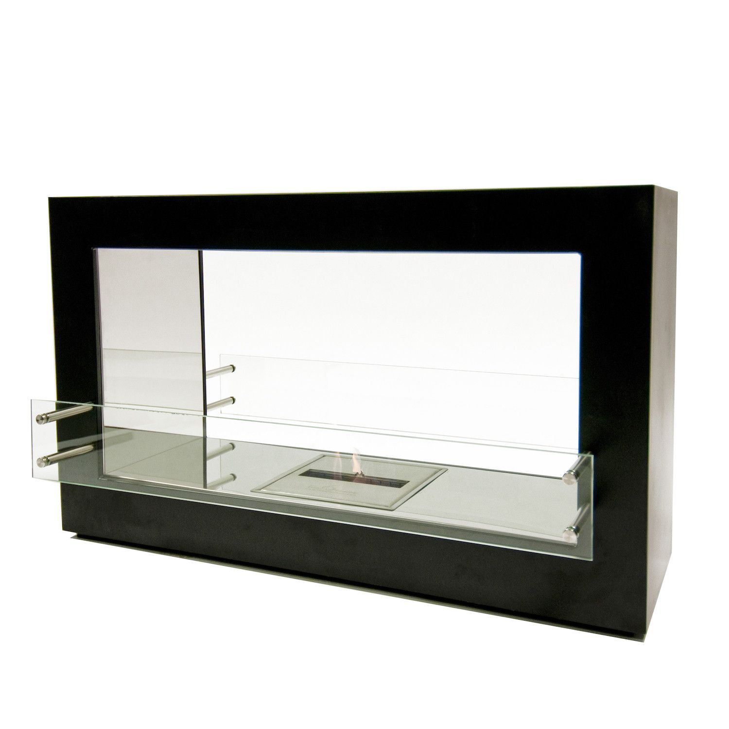 The Bio Flame Argento 44 Double Sided See Through Ethanol Fireplace Ethanol Fireplace Bioethanol Fireplace Freestanding Fireplace