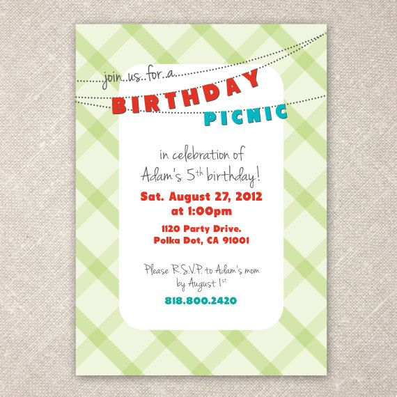 Picnic Birthday Party Invite  Picnic Birthday Birthdays And