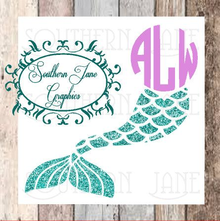 955d1836ca1da Mermaid Tail - Glitter - Monogrammed Decal Sticker   Yeti - Tumbler - cup -  car window - phone - laptop sticker by SouthernJaneGraphics on Etsy