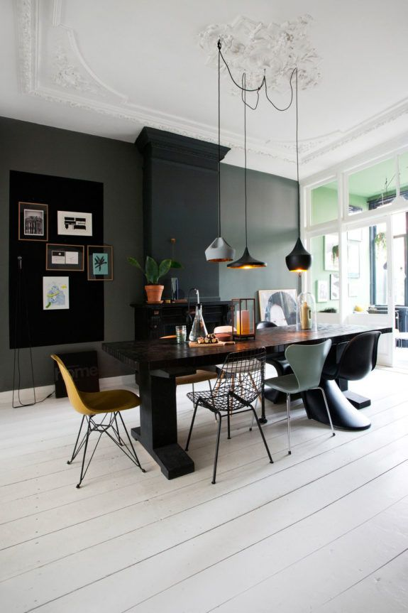 Spacious dining room with mix and match design chairs and a black contrast wall connox beunique for the home pinterest future maison idee deco et