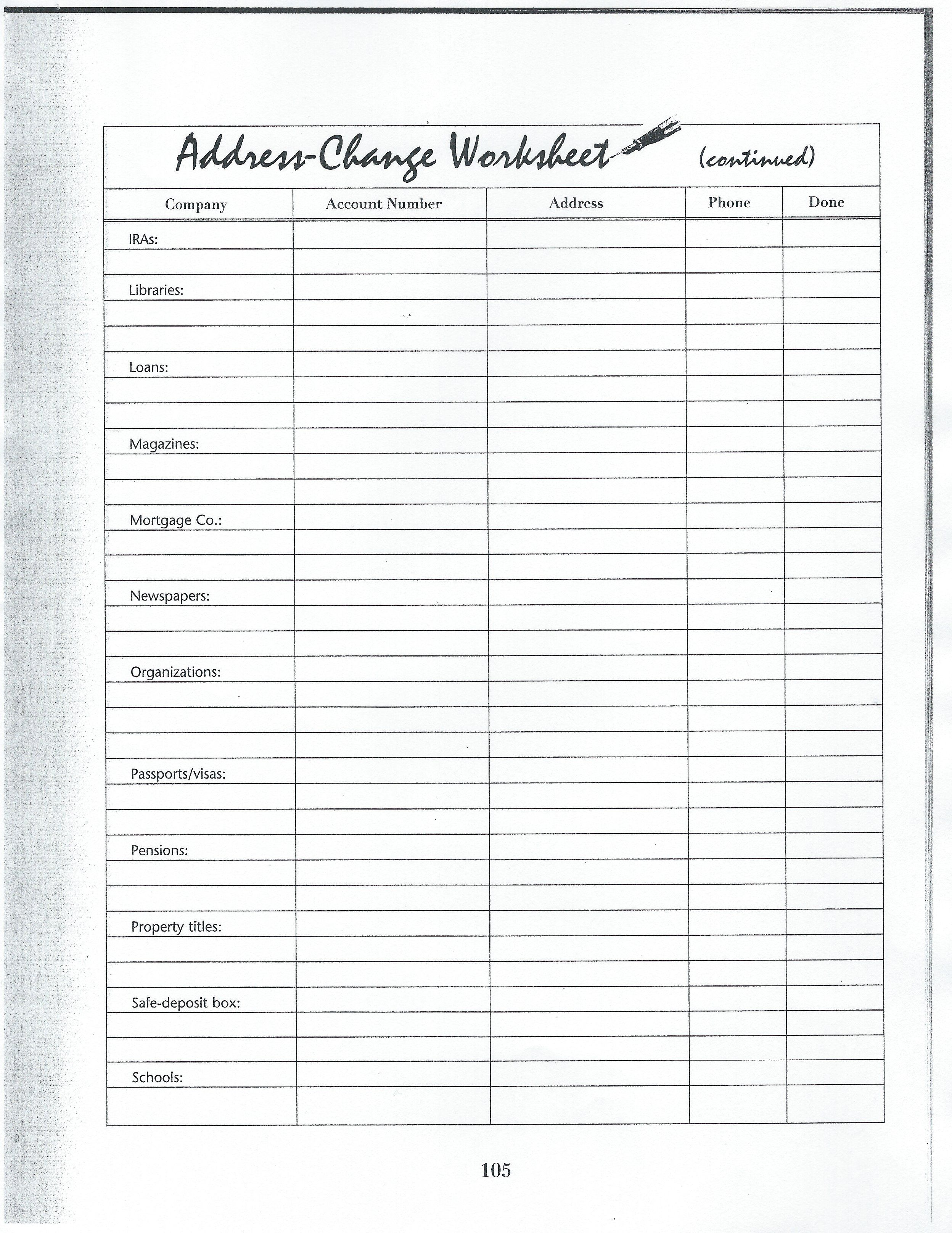 worksheet Organizing Ideas Worksheets address change worksheet 3 bullet journal dayplanner organizing changeorganizing ideasbullet worksheets