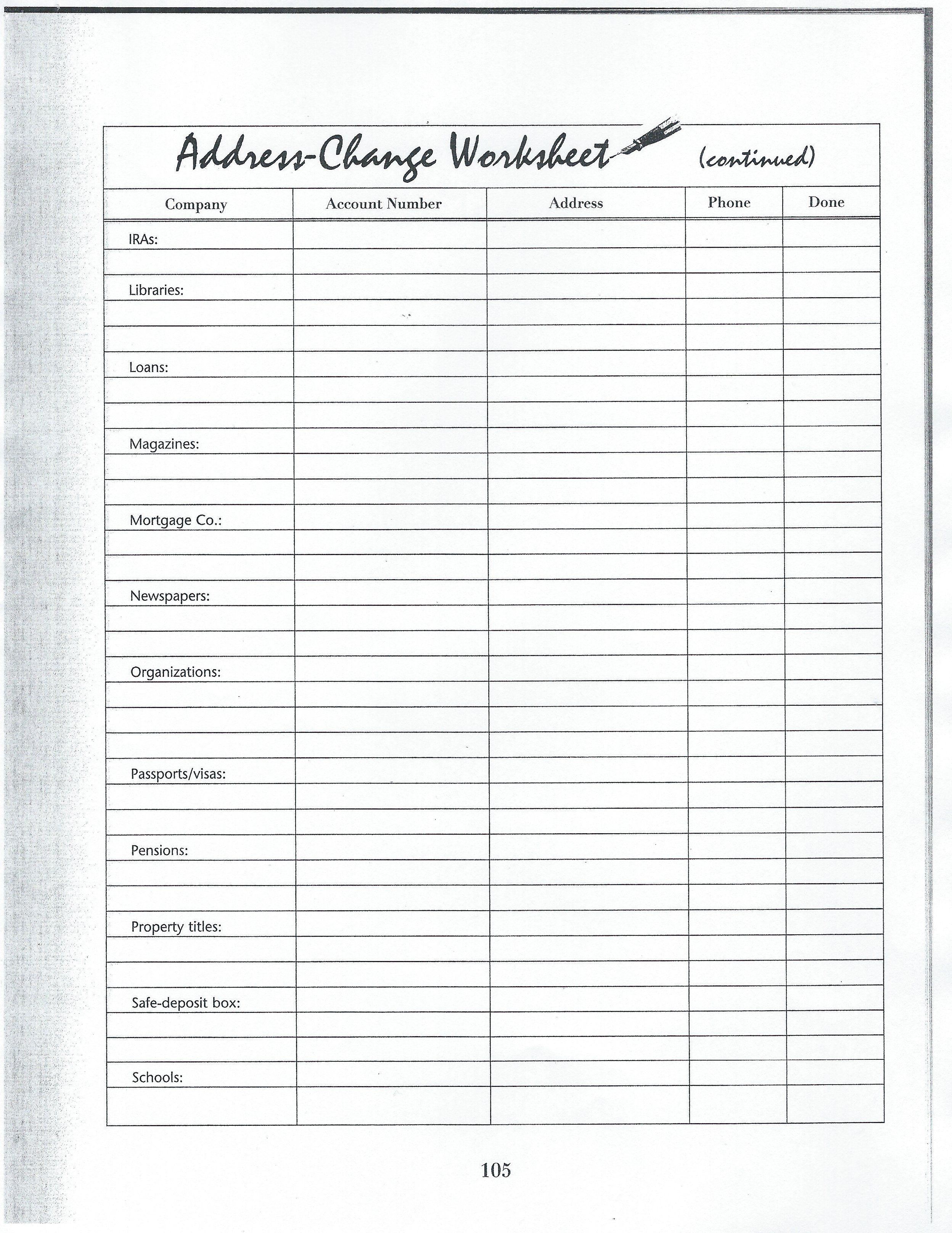 Address Change Worksheet 3