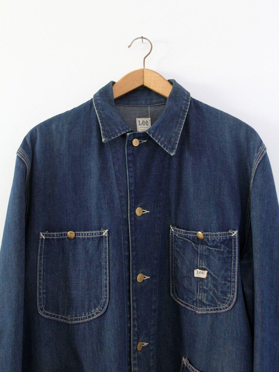 Vintage 50s Lee Barn Coat Men S Denim Work Jacket Etsy Mens Coats Hipster Mens Fashion Vintage Denim Jacket