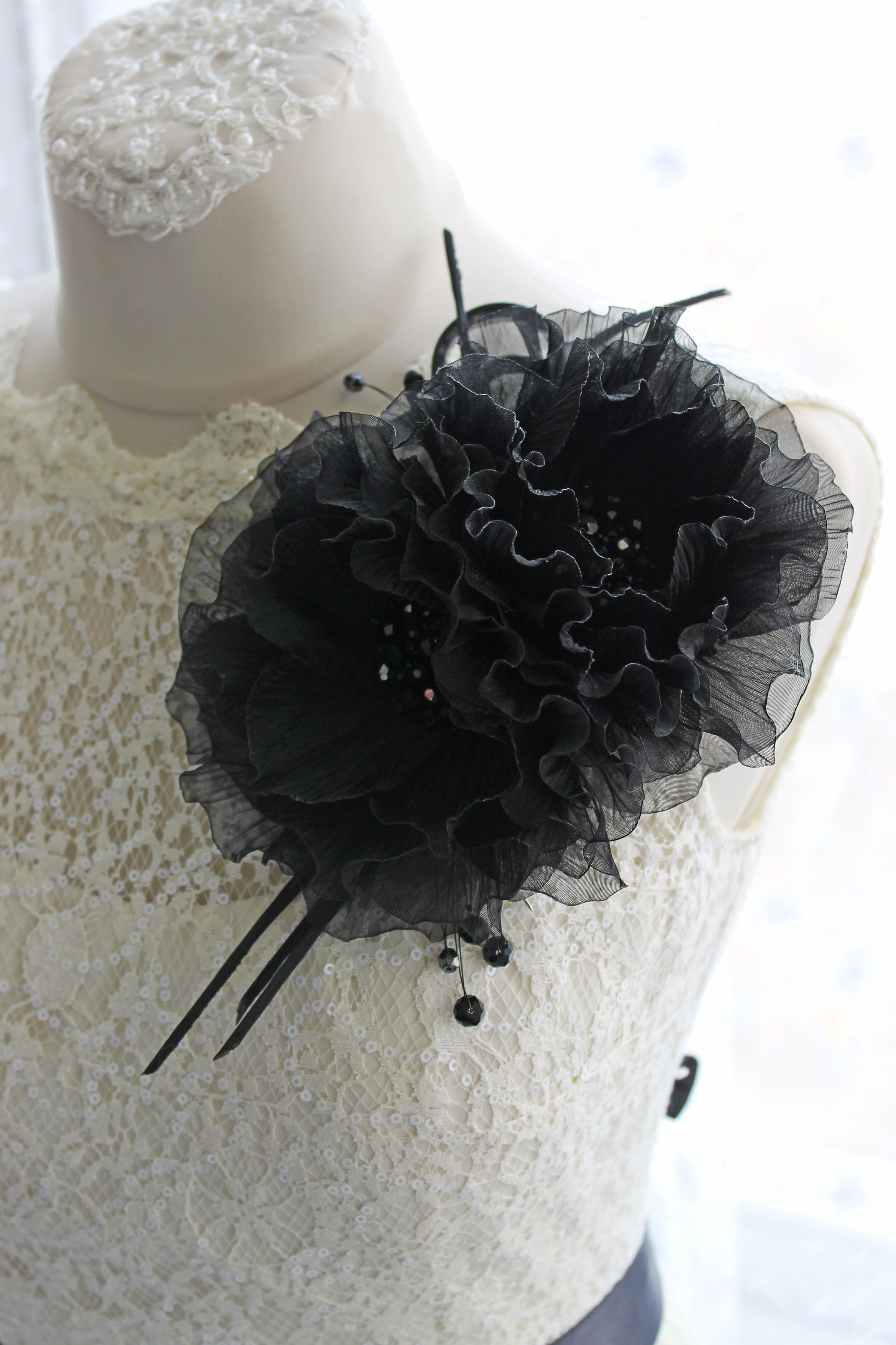 Fabric Flower Broosh Large Black Fashion Floral Broosh Pin
