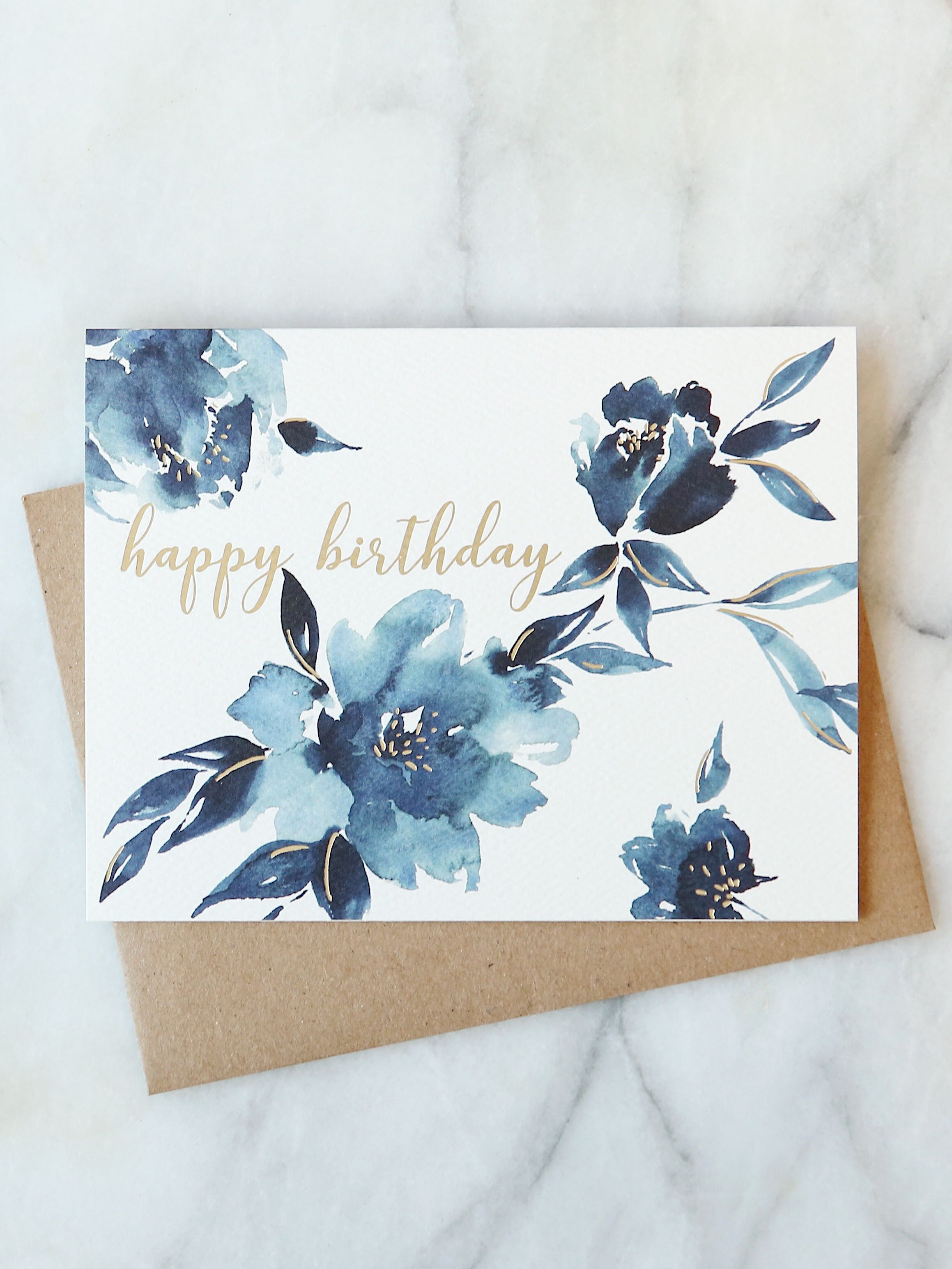 Indigo Floral Birthday Card Abigail Jayne Design With Images