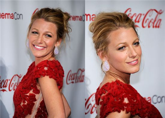 blake lively elegant updo with cheap and real extension for short hair clip on