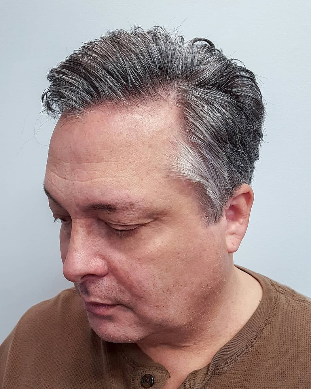 mens haircut, older mens haircut, gray haircut, 50 year old
