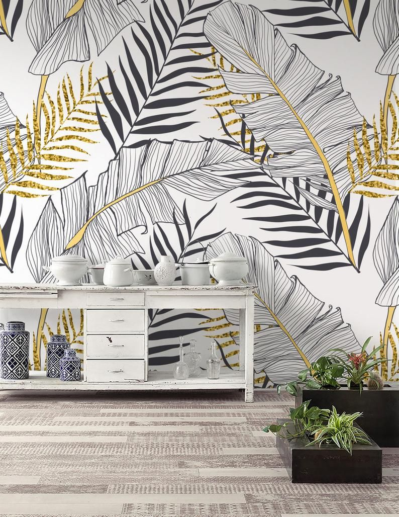 Tropical Wallpaper Peel And Stick Removable Palm Leaf Wall Etsy Tropical Wallpaper Banana Leaf Wallpaper Leaf Wallpaper
