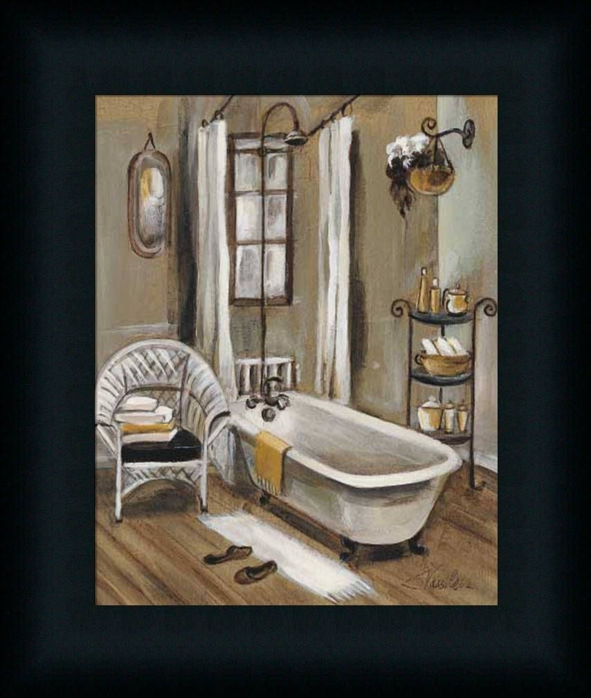 Details About French Bath Ii Silvia Vassileva Bathroom Spa Framed Art Print Wall D Cor Picture