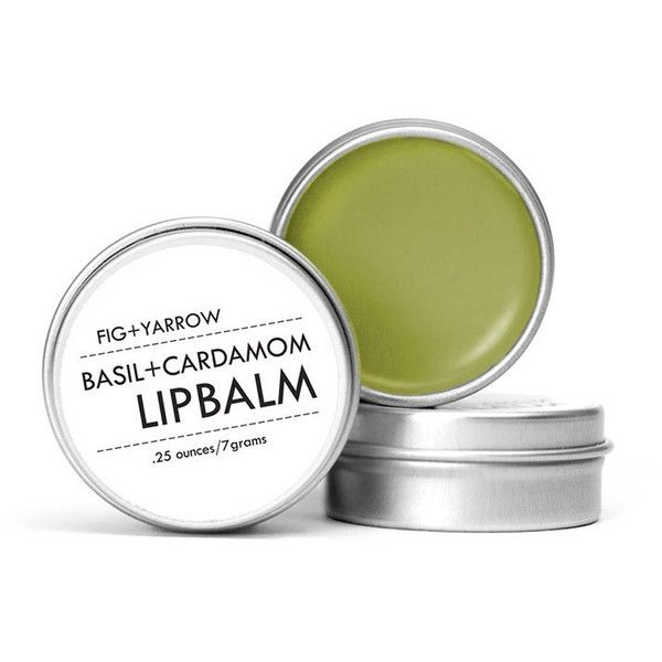 Basil & Cardamom Lip Balm in Tin design by Fig and Yarrow (£9.01) ❤ liked on Polyvore featuring beauty products, skincare, lip care and lip treatments