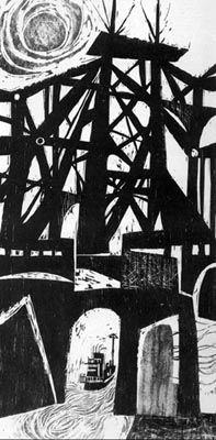 'Bridge' by NJ-based American artist Clare Romano (b.1922). Woodcut. via Art & Architecture of NJ