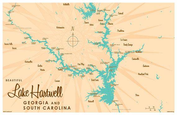 Lake Hartwell GA SC Map Print Lakebound Maps Pinterest - Georgia lakes map