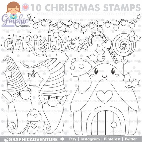 Christmas Stamps, Gnome Stamps, COMMERCIAL USE, Digi Stamp, Digital ...