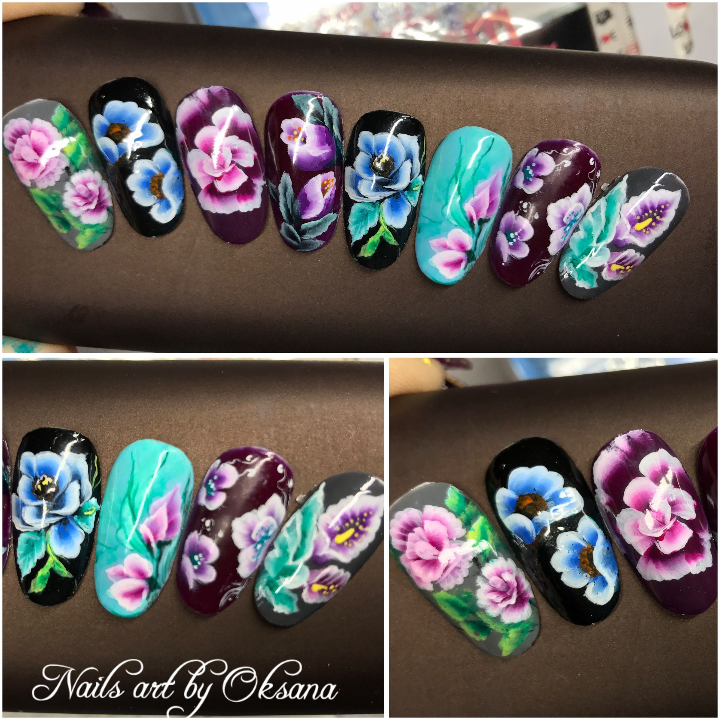 One Stroke Nail Art Using Acrylic Paint By Crystalnails Nagels