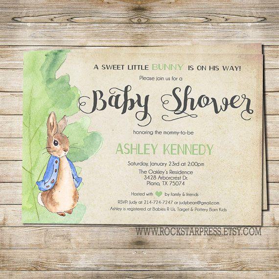 Peter Rabbit Baby Shower Invitation Digital File Printable 1249