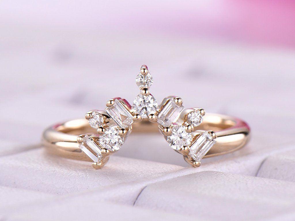 Baguette Round Diamond Chevron Wedding Band 14k Yellow Gold Diamond Wedding Bands Rose Gold Engagement Ring Diamond Tiara Wedding
