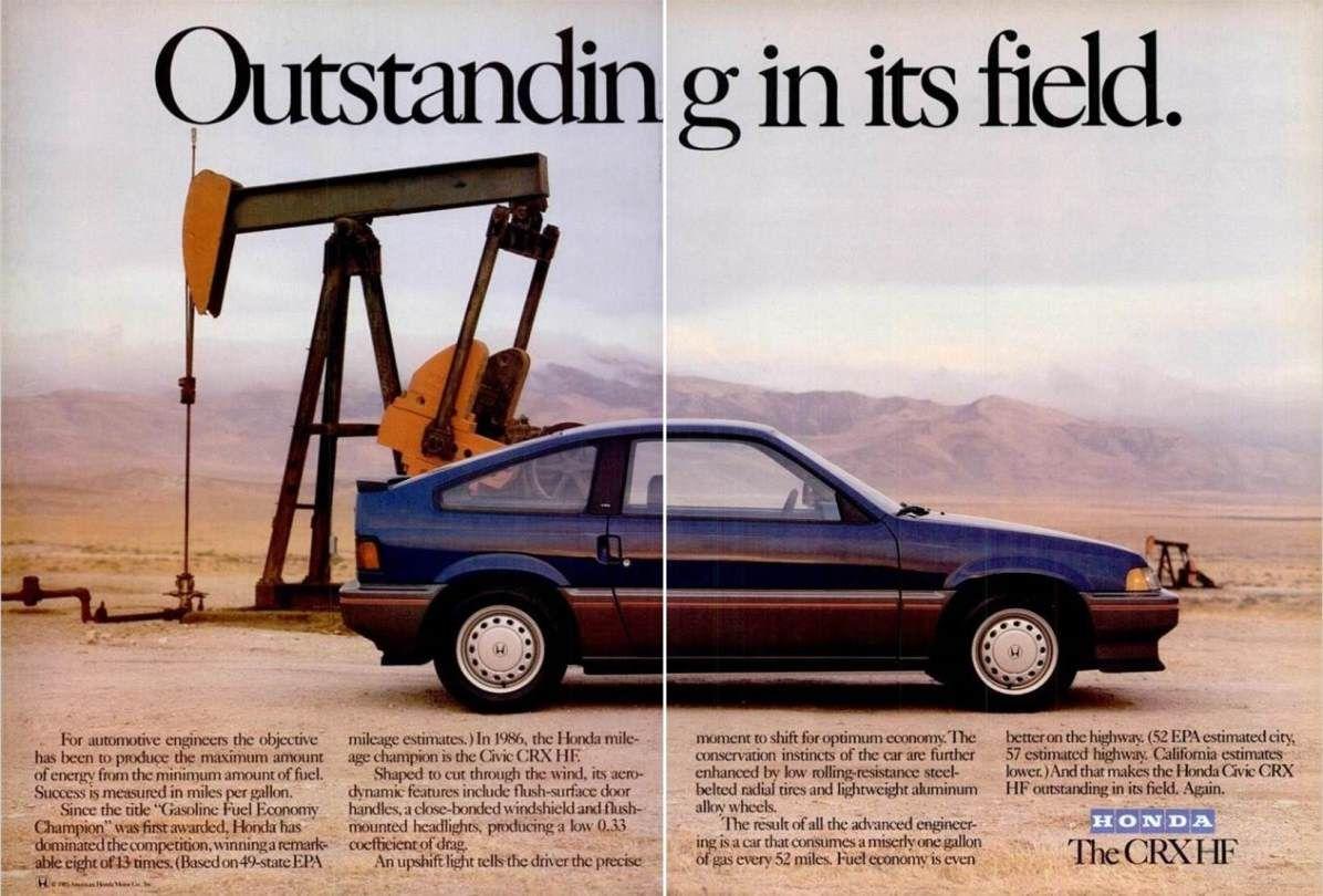 1986 Honda Crx Hf Ad Honda Del Sol Car Ads Small Cars