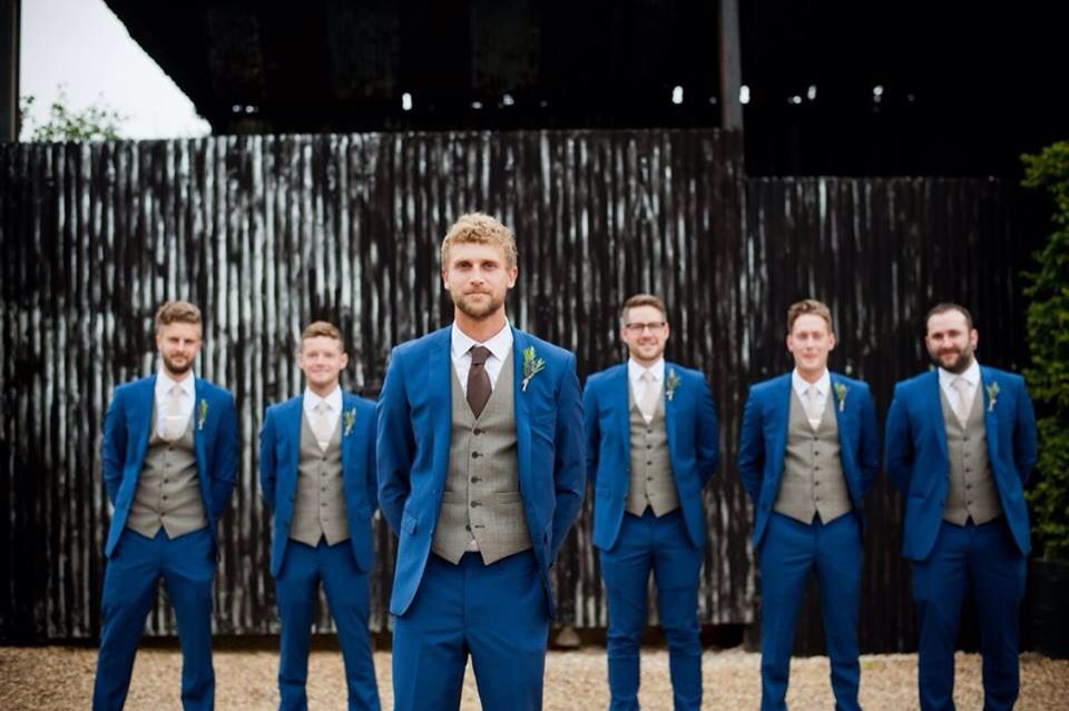 My Husband And His Ushers Groomsmen Suits Blue Wedding