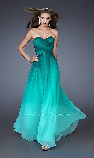 Long Strapless Jade Ombre Dress by La Femme at SimplyDresses.com