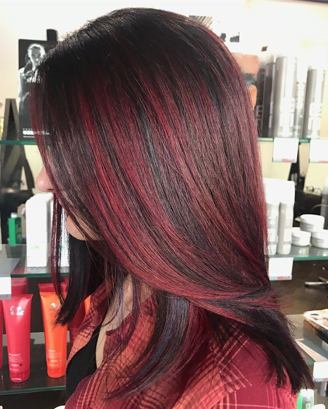 Bright Burgundy Highlights For Dark Brown Hair