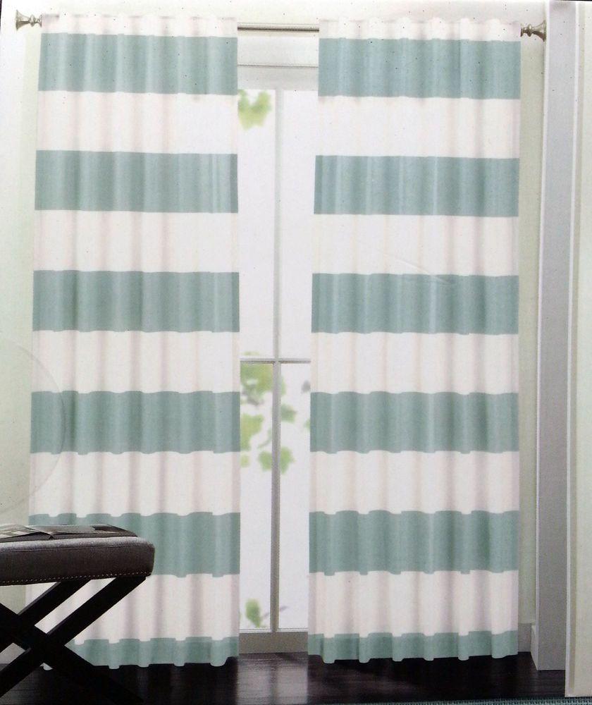 Hillcrest Aqua Teal Ivory Striped Window Curtain Panels 52x96 Pair
