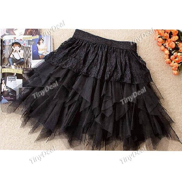 Trendy Gauze Ruffle Skirt Layered Skirt Lace Petticoat Underdress for Girl Woman - Black NLD-49727