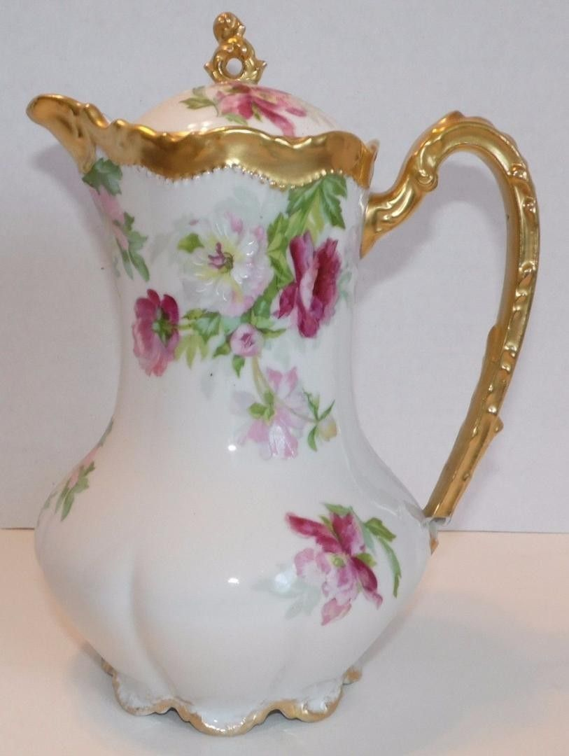 LIMOGES CORONET FRANCE COFFEE CHOCOLATE POT This is a Coronet ...