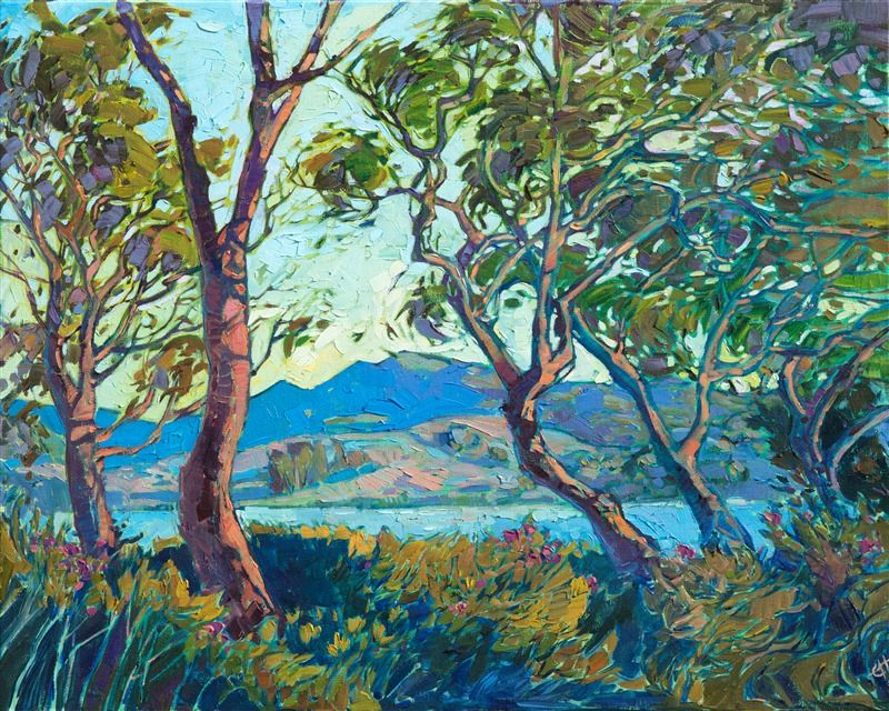 Oil Painting Of San Luis Obispo Landscape Surrounded By Wispy Trees Painted By Contemporar Oil Painting Nature Abstract Landscape Painting Landscape Paintings