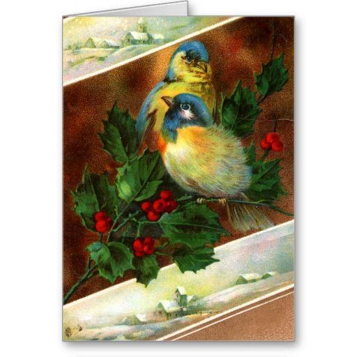 Victorian Bird Christmas Card Zazzle Com Victorian Christmas Cards Christmas Postcard Christmas Cards